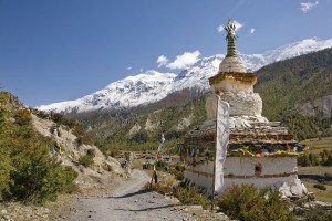 Colorful stupas are a common sight in the Himalayas