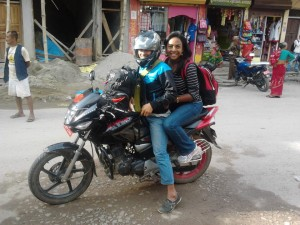 Travel by bike is normal in Nepal as Domina found out.